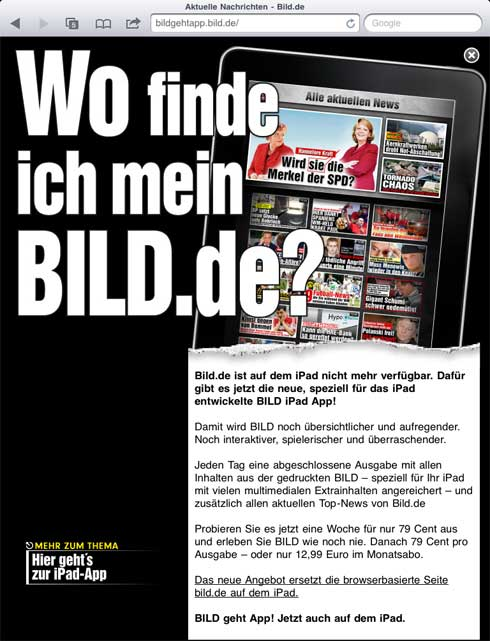 axel springer sperrt f r ipad leser. Black Bedroom Furniture Sets. Home Design Ideas