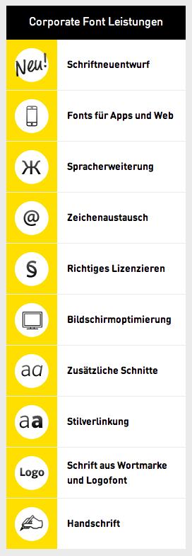 Corporate Font Serviceleistungen