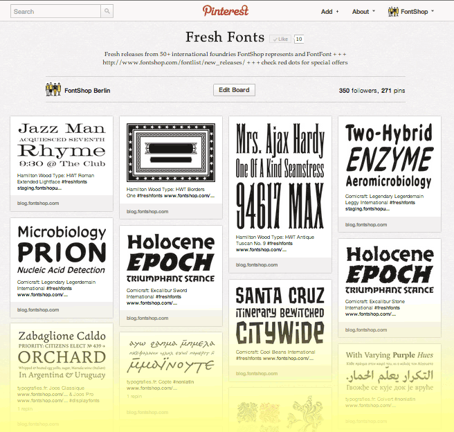 FontShop: Pinterest Board #freshfonts