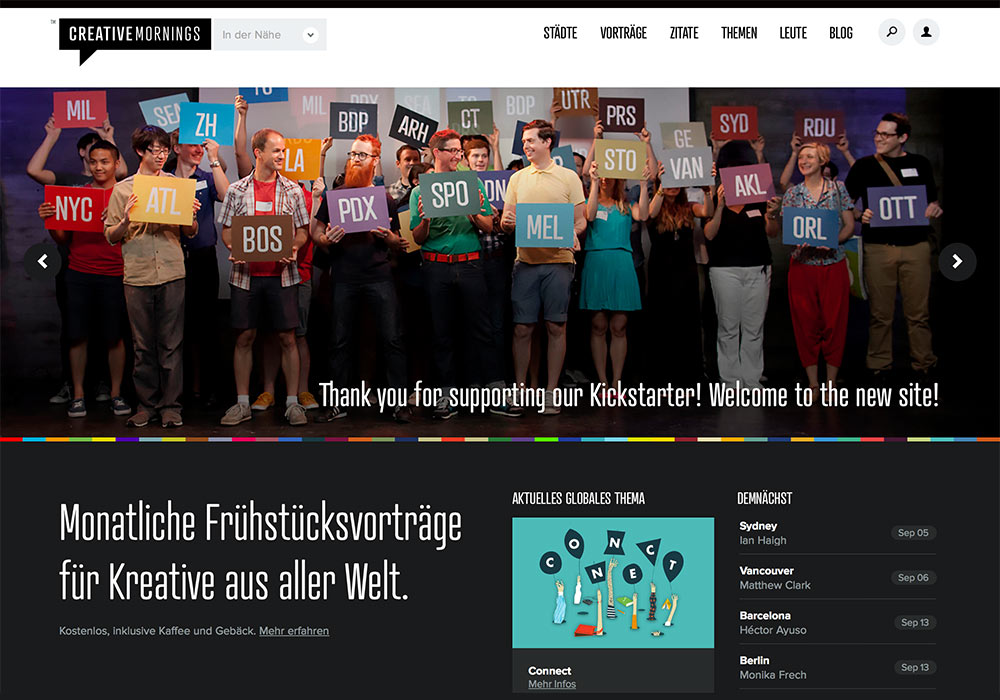 Die Homepage aller CreativeMornings-Standorte