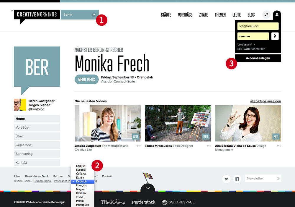 Die Homepage des Berliner Creative Morning