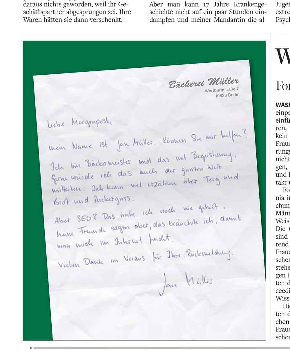 Morgenpost-Teaser-Anzeige für den eigenen Webdesign-Service