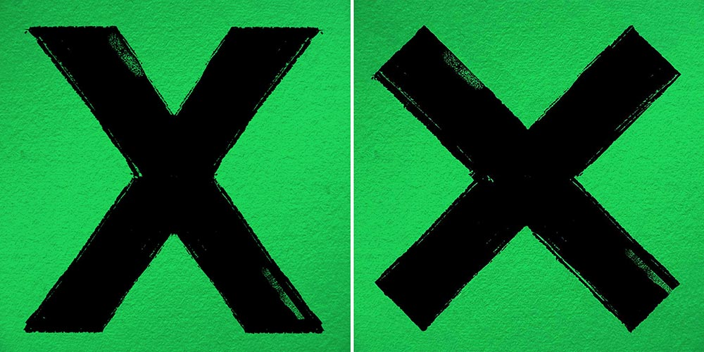Left: Original Ed Sheeran Album cover with wrong glyph x; right: simulation with correct glyph × (multiply)