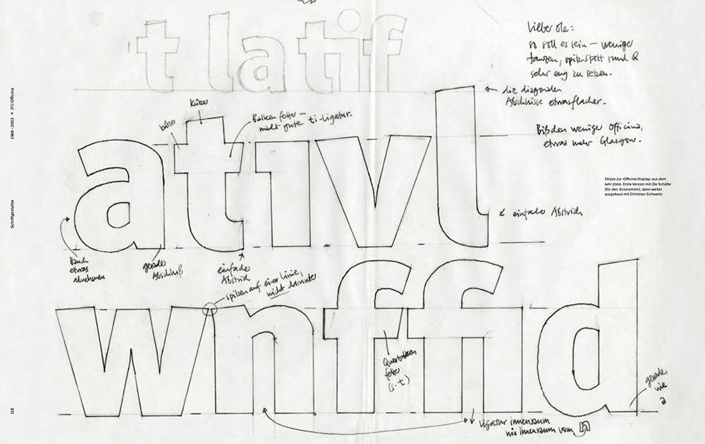 Skizzen zur Officina Display, 2000 entworfen mit Ole Schäfer