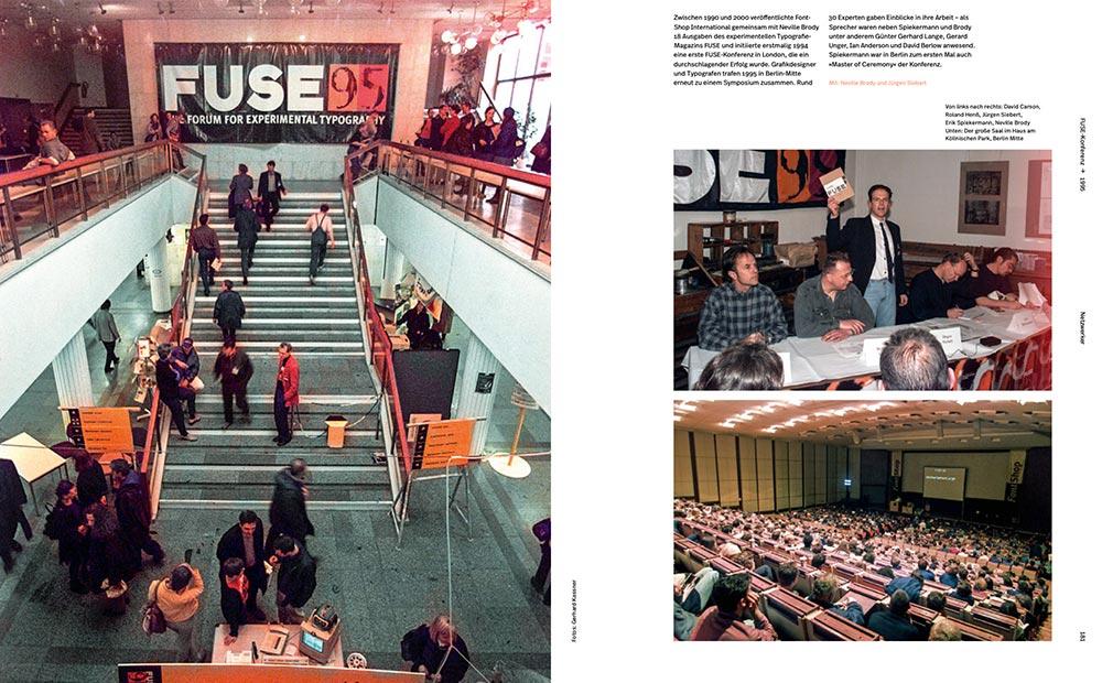 Doppelseite über die erste FontShop-Konferenz, die FUSE 95 in Berlin