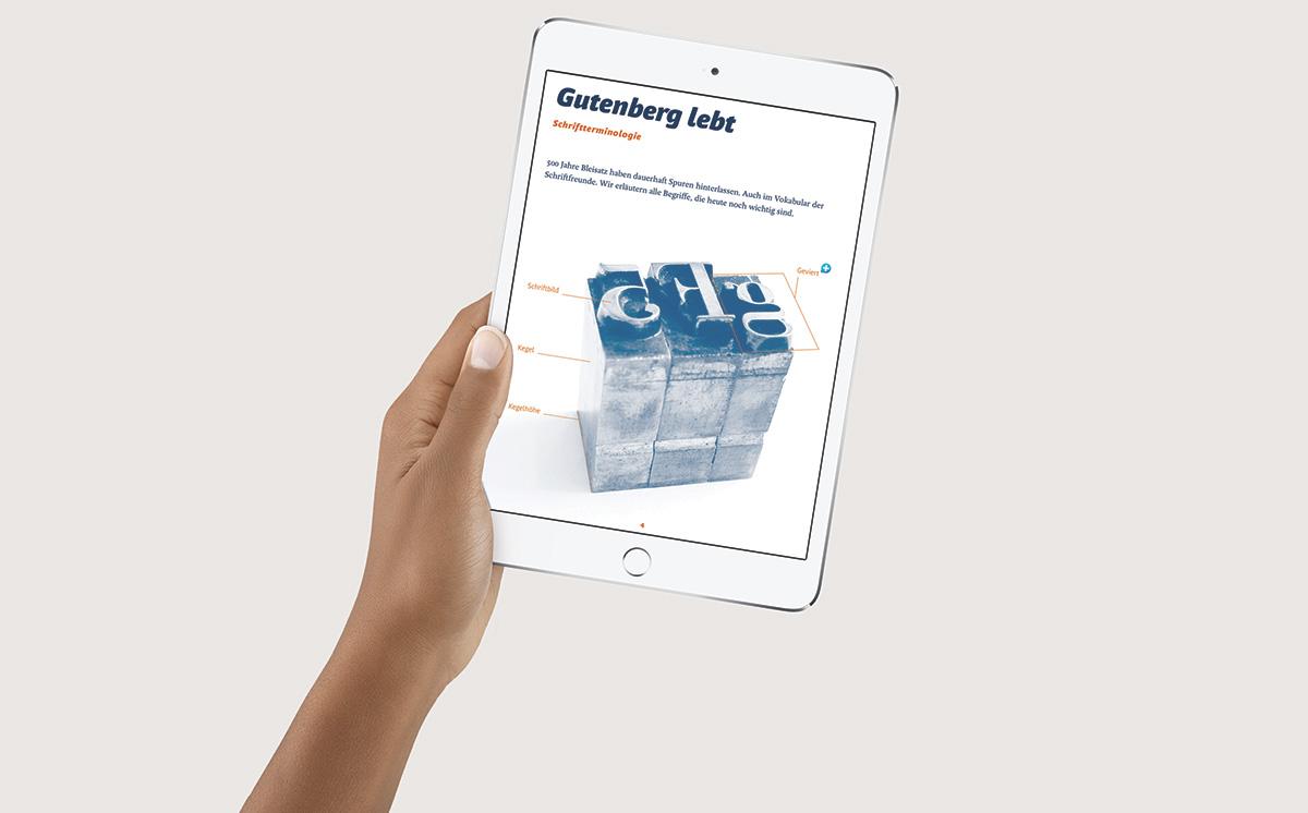 Das Apfel-i-iBook auf dem iPad Mini
