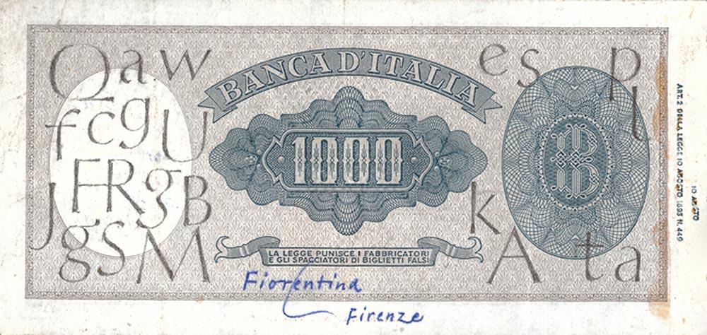 Die Grundidee für seine Optima hielt Hermann Zapf 1950 in Florenz auf einem 1000-Lire-Schein fest