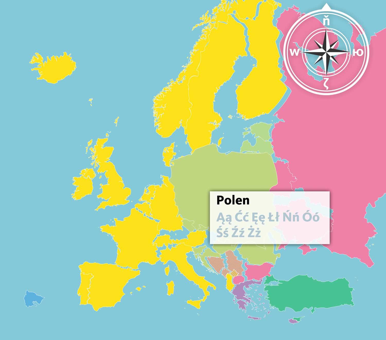 Osteuropa-Zeichen-Karte