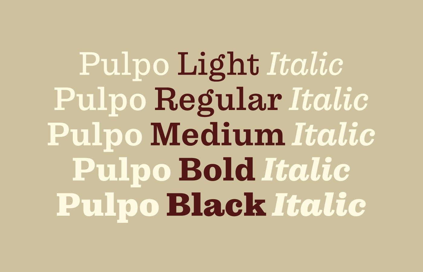 Die Pulpo-Familie im Überblick: 5 Strichstärken plus echte Kursive, inspiriert von Jonathan Hoeflers ›Sentinel‹