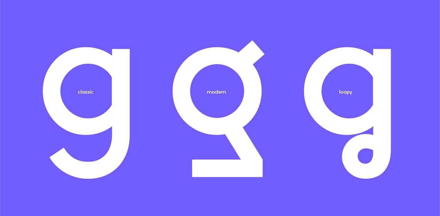 Drei Kleinbuchstaben g, in den Stilrichtungen classic, modern und loopy