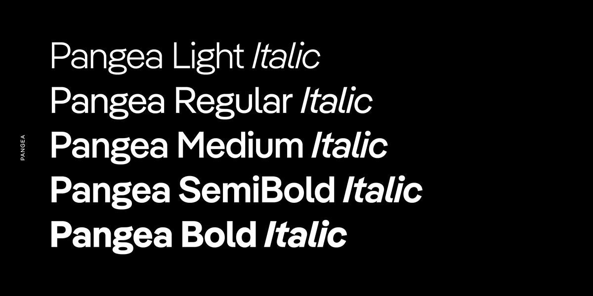 fünfteiliges Pangea-Schriftmuster mit 5 Strichstärken plus Kursive, weiß auf schwarz