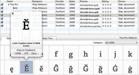 Schriften untersuchen mit FontCase