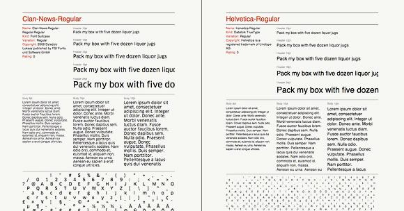 Schriftmuster drucken aus FontCase